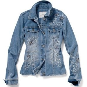 Jackets & Blazers - Chico's | Floral Embroidered Jean Jacket